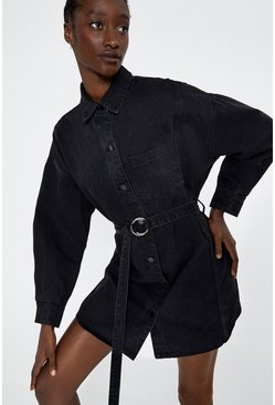 Washed black Belted D Ring Denim Dress