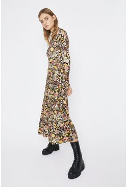 Multi Printed Tiered Funnel Neck Midi Dress