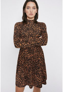 Tan Printed Tiered Funnel Neck Short Dress