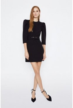 Black Puff Sleeve Belted Mini Dress