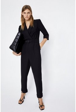 Black Belted Wrap Jumpsuit