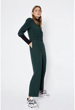 Green Belted Wrap Jumpsuit