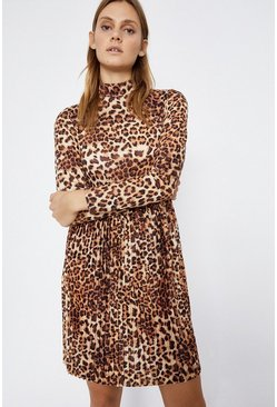 Leopard Animal Funnel Neck Mini Dress