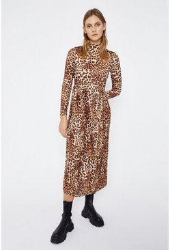 Leopard Animal Funnel Neck Midi Dress