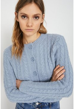 Pale blue Cable Knit Button Cardigan