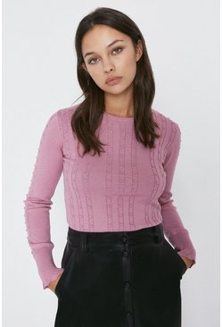 Blush Bobble Stitch Pointelle Trim Crew Neck Jumper