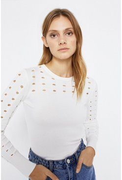 Ivory Cut Out Sleeve Detail Jumper