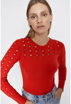 Red Cut Out Sleeve Detail Jumper