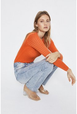 Orange Slash Neck Scallop Stitch Crew Jumper