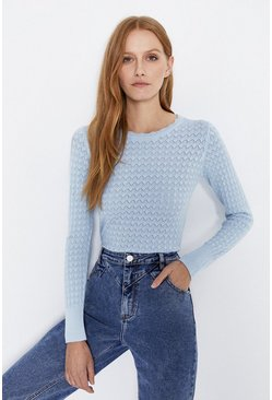Pale blue Slash Neck Scallop Stitch Crew Jumper