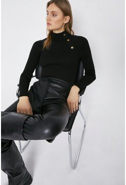 Black Button Detail Funnel Neck Jumper