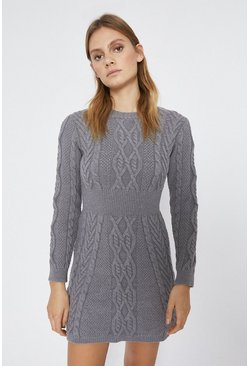 Grey marl Cable Knit Dress