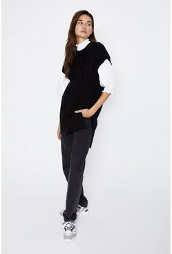 Black Long Line Knit Tabard