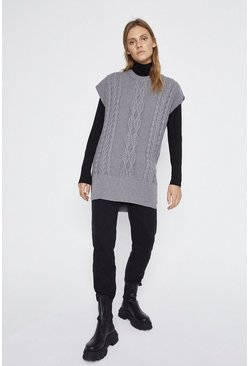 Grey marl Long Line Knit Tabard