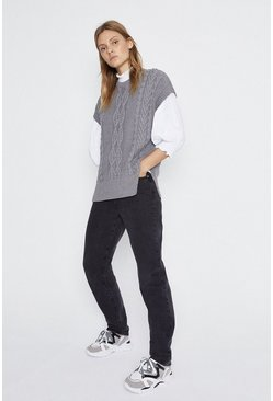 Grey marl Crew Neck Knit Tabard