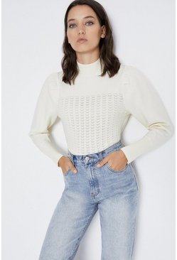 Ivory Stitch Detail Cropped Jumper