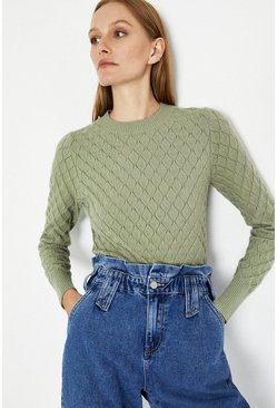 Mint Soft Scallop Jumper