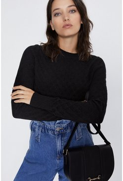 Black Soft Scallop Jumper