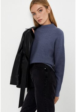 Blue Soft Funnel Neck Jumper