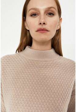 Ecru Soft Funnel Neck Jumper