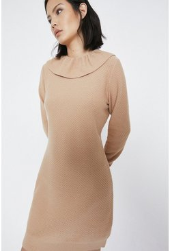 Oatmeal Frill Collar Stitch Knitted Dress