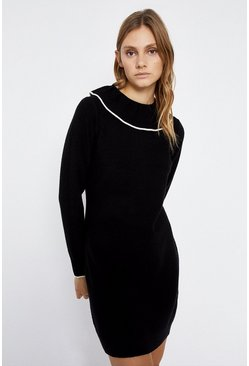 Black Frill Collar Stitch Tipped Knitted Dress