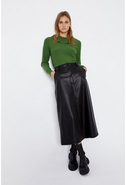 Green Frill Collar Stitch Jumper
