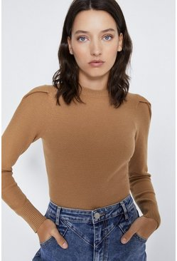 Camel Basket Stitch Shoulder Detail Jumper