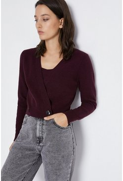Berry Deep V Cosy Cardigan
