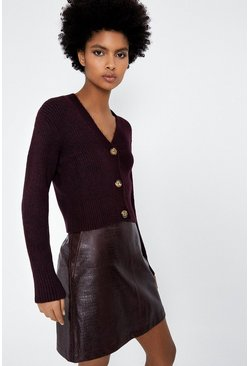 Berry Cosy V Ribbed Crop Cardi