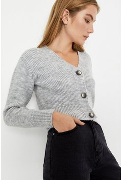 Light grey Cosy V Ribbed Crop Cardi