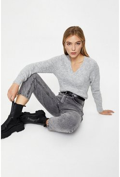 Pale grey Cosy V Neck Jumper