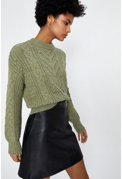 Pale green Bobble And Stitch Jumper