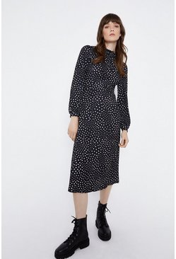 Black Gathered Yoke Midi Dress