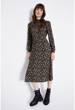 Mono Gathered Yoke Midi Dress