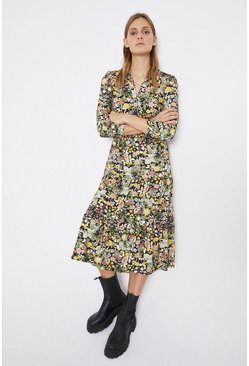 Multi Floral Shirt Midi Dress