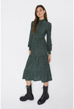 Green Frill Detail Tiered Midi Dress