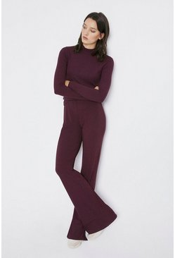 Berry Rib Funnel Neck Top