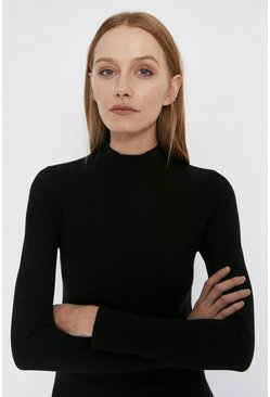 Black Rib Funnel Neck Top