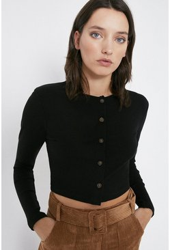 Black Rib Button Cardigan