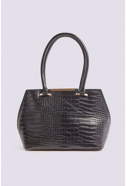 Black Multi Strap Croc Bag