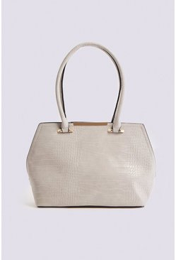 Grey Multi Strap Croc Bag