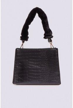 Black Fluffy Handle Cross Body