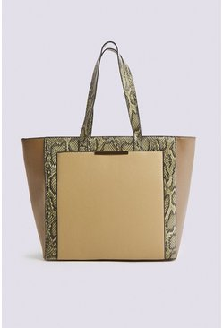 Khaki Blocked Detail Tote