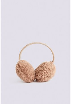 Camel Faux Shearling Ear Muffs