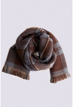 Chocolate Reversible Check Scarf