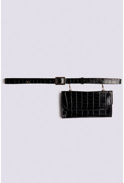 Black Faux Croc Belt Bag