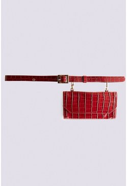 Red Faux Croc Belt Bag