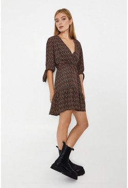 Rust Spot Wrap Dress