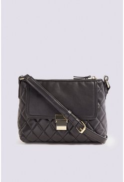 Black Quilted Top Zip Cross Body